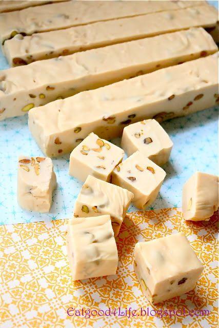 36oz white choc, 14oz can condensed milk, 1/2 cup pistachios, 1/2 cup irish cream liquer