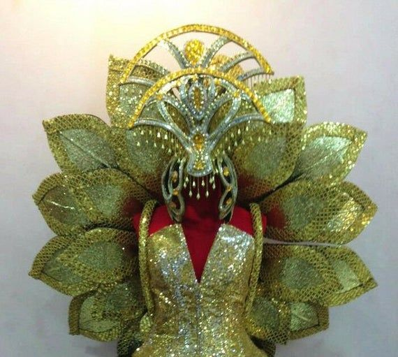 Da NeeNa H113 Drag Queen of Wave River Wind Colossal Headdress Crystal Wings