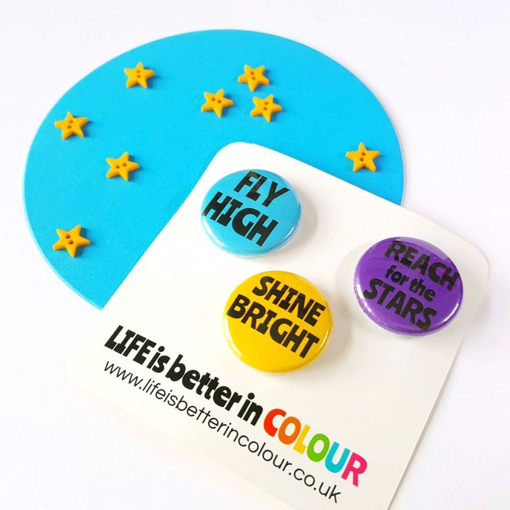 Shine Bright, Fly High and Reach for the Stars! This colourful button badge set features some wonderful words of encouragement! Whether you're treating yourself to a little something 'just because' or are looking for a lovely 'pick-me-up' present for your favourite friend, we think this cute collection of badges would make a great giftCheck out the rest of our shop for more colourful accessories with mindful motives! Full Description:- Metal Pin Badge Set- ...