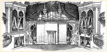 """""""Stage and Proscenium Boxes of Ford's Theater as They Appeared on the Night of President Lincoln's Assassination,"""" John G. Nicolay and John Hay's Abraham Lincoln: A History, 1890 (ICHi-30943); floor plan of presidential box and outer vestibule."""