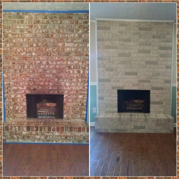 Nailed it!! Found the DIY instructions for my fireplace makeover on the lowes website. Prime, paint with your choice of base coat, cut sponge to fit the size of brick, dip sponge in your choice of darker color and press on to brick. More paint on the sponge=darker brick, less paint= lighter bricks.