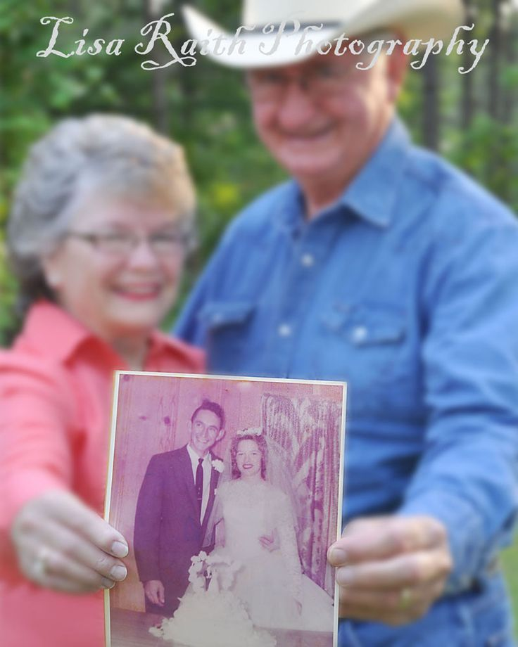 Anniversary idea--take a pic of the couple holding a photo from their wedding!  This couple is celebrating their 50th this year!