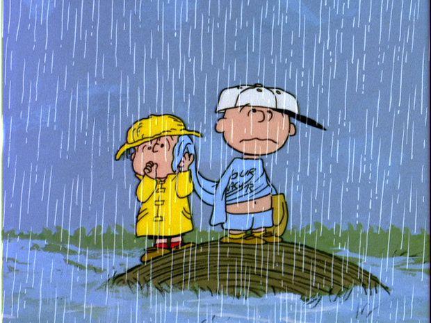 Rain Baseball Peanuts Linus Charlie Brown