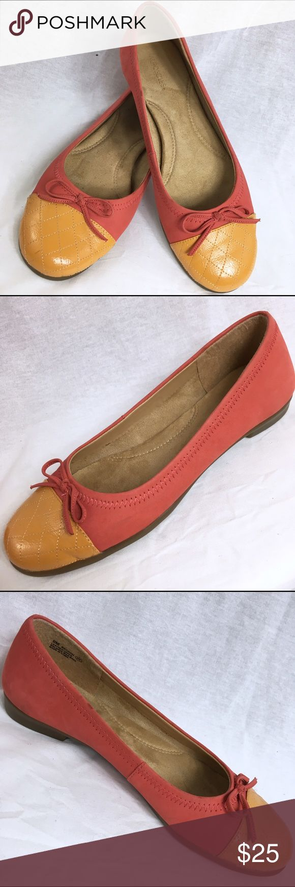 AEROSOLES BECKON Leather Ballet Flats - Size 8M These leather ballet flats are in very good condition! They have been gently worn. They are a salmon color with an orange toe. AEROSOLES Shoes Flats & Loafers