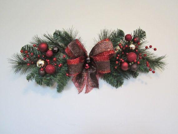 6 Christmas Window Swag, Outdoor Window, Old World, Indoor, Door, Wall, Mesh, Pine Wreaths, Small, Half Wreaths, Holiday Decor More