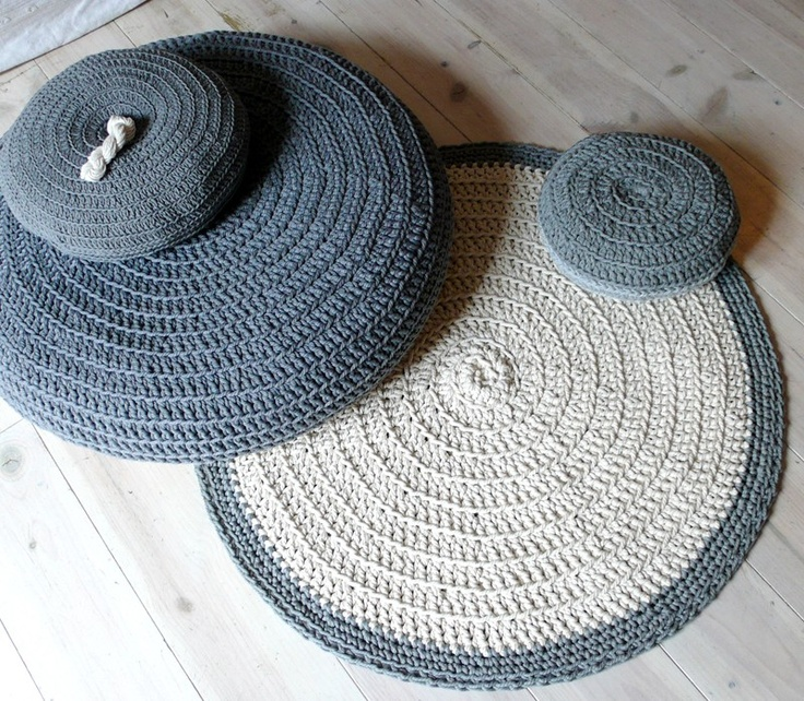 hand-crocheted cotton rug