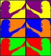 Complementair contrast De kleuren versterken elkaar. Paars en geel, blauw en oranje, groen en rood. De kleuren zijn het tegenovergestelde van elkaar dus het is een heel duidelijk kunstwerk.