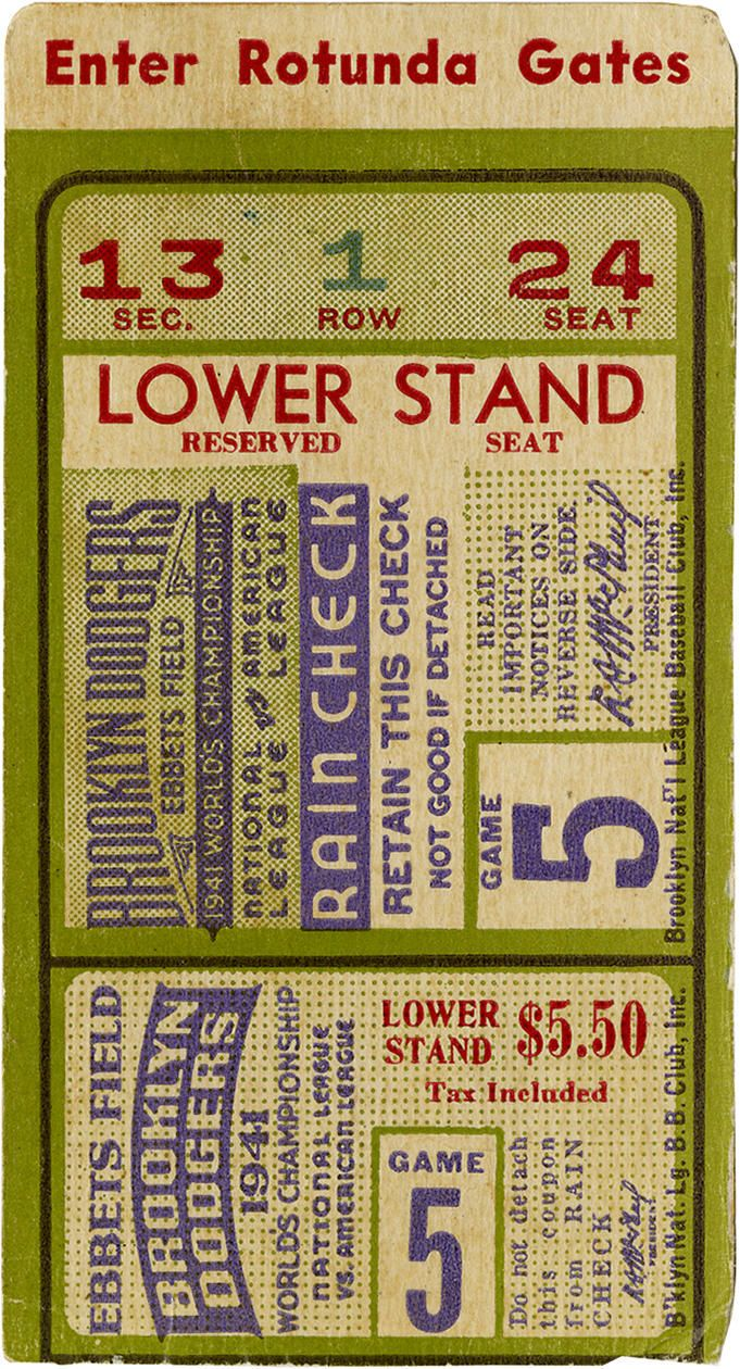 Baseball: Brooklyn Dodgers Game 5 ticket stub to the 1941 World Series. The 1941 Brooklyn Dodgers led by NL MVP Dolf Camilli won their first pennant in 21 years. They went on to be defeated by who else but the New York Yankees in the World Series. Would look great framed with autographed photo of Camilli.