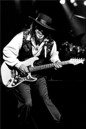 Stevie Ray Vaughn East Troy, WI 1990  © PAUL NATKIN  Stevie Ray Vaughn at the Alpine Valley Music Theater in East Troy, Wisconsin the day before he was killed in a helicopter crash.