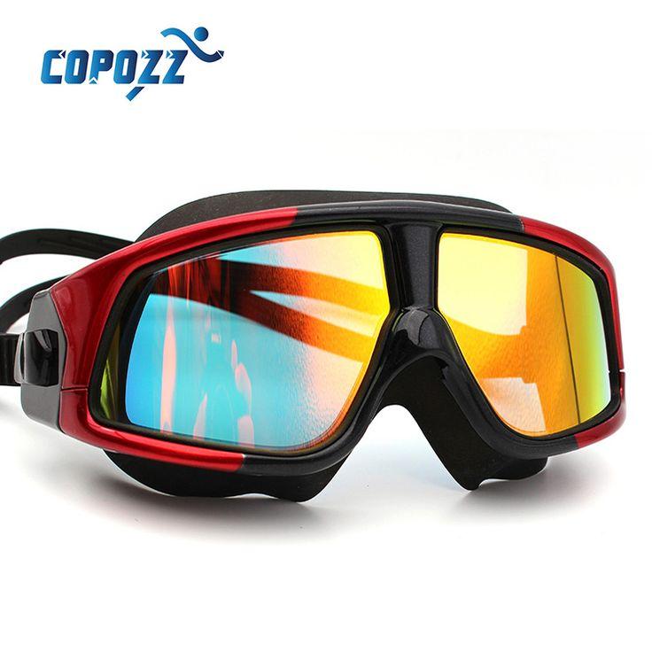 COPOZZ Fasion Cómodo de Silicona Gran Marco Gafas de Natación Gafas de Natación Contra la Niebla UV Hombres Mujeres Swim Máscara Resistente Al Agua