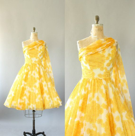 Vintage 50s Dress / 1950s Party Dress/ Yellow Floral Sheer One Shoulder Party Dress S