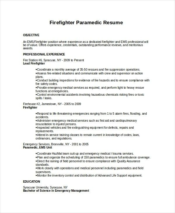 7 Firefighter Resume Templates Pdf Doc Free Premium Firefighter Resume Cover Letter For Resume Resume Template