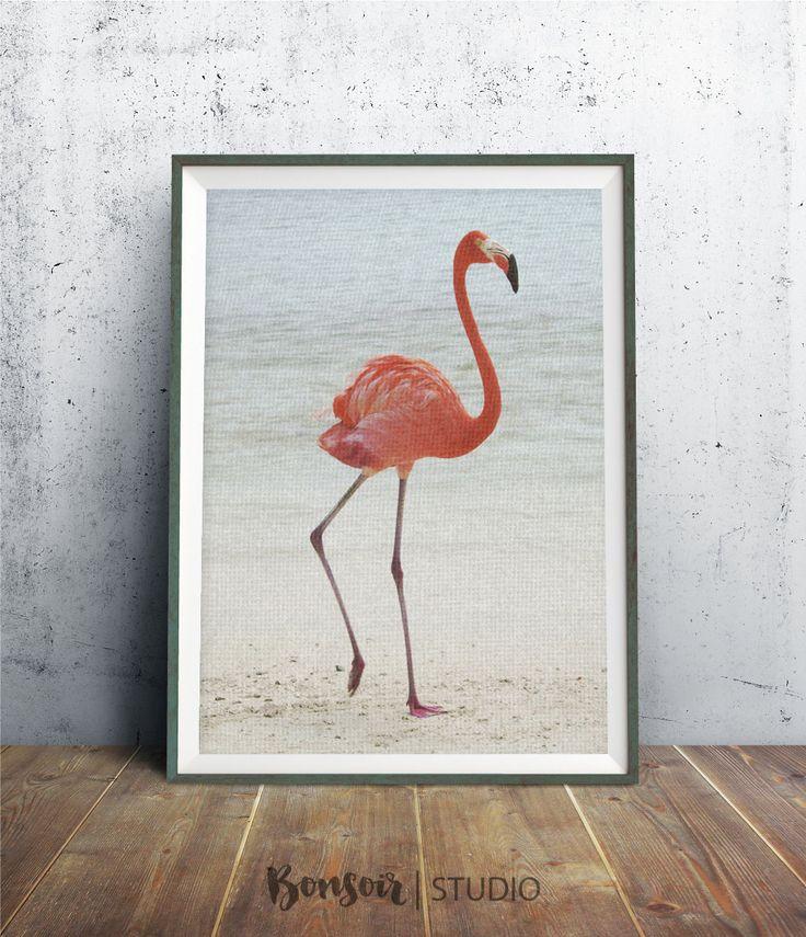 Flamingo Wall Art Print 8 x 10 tropische vogels door BonsoirStudio