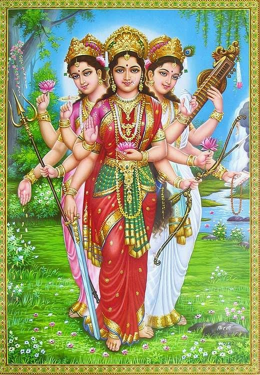 Parvati, Lakshmi and Saraswati...Tripple Goddess of the Hindu Path