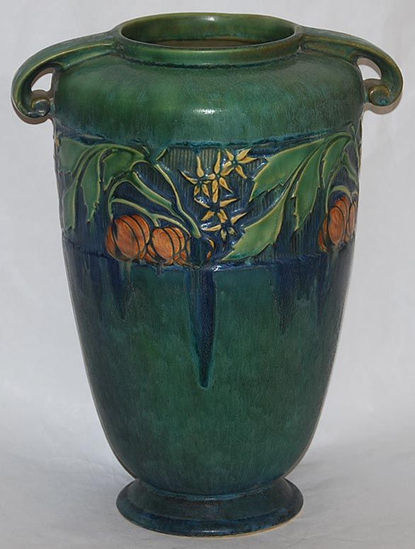 Roseville Pottery Baneda Green Vase 599-12 This design started my obsession and collecting of Roseville pottery