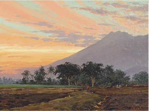 Willem van der Does - Zonsondergang achter den Kawi