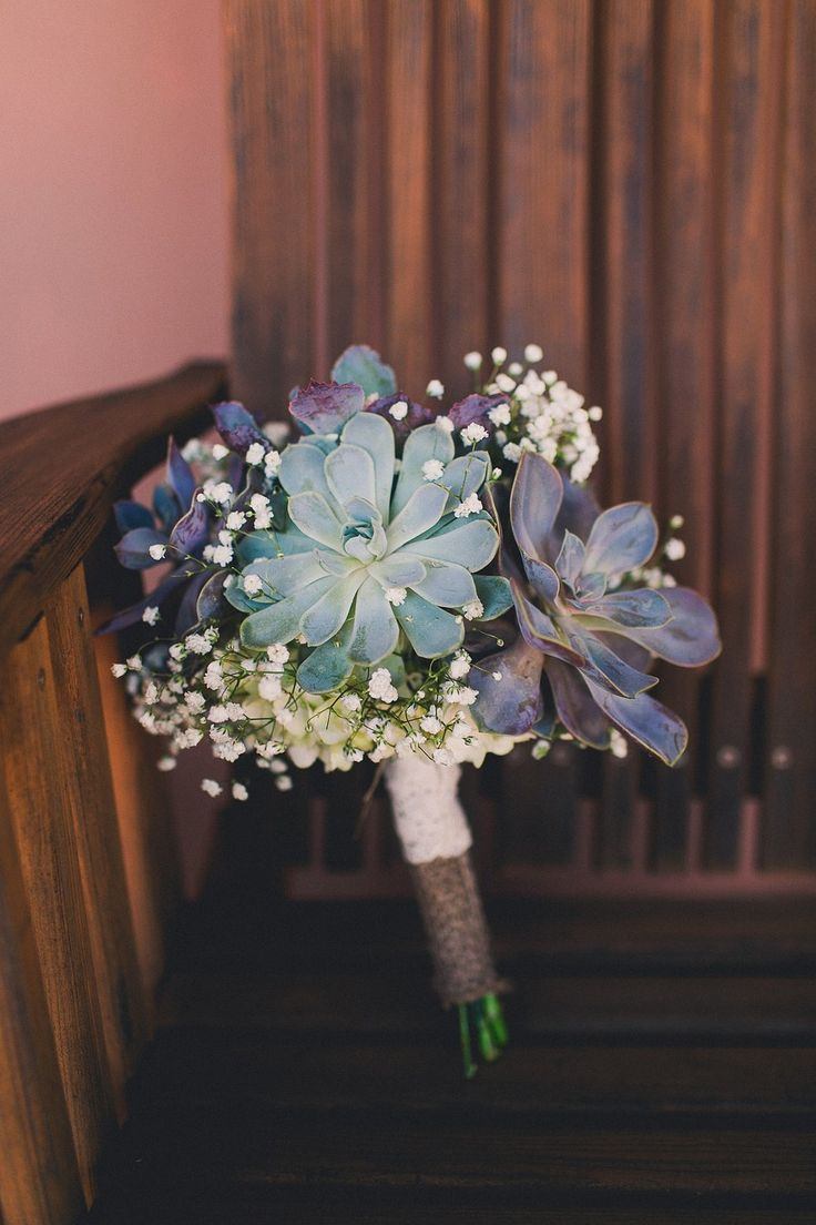 Succulent and Baby's Breath bridal bouquet - wrapped with burlap and lace.