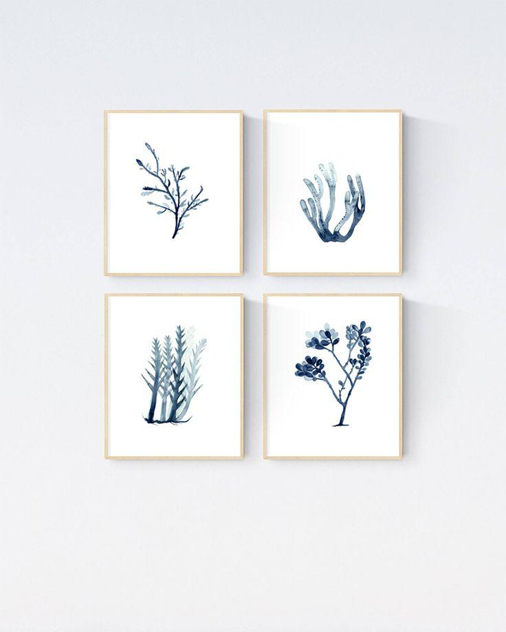 Set of 4 Seaweed Watercolour Prints, Indigo Blue Seaweed, Marine Plant Prints, Beach house Decor, Coastal Wall Art, Nautical Paintings by WinterOwls on Etsy