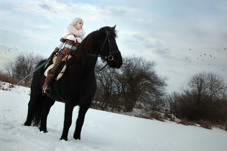 Ciri (The Witcher) and her horse Kelpie (friesian mare) by Juriet Cosplay