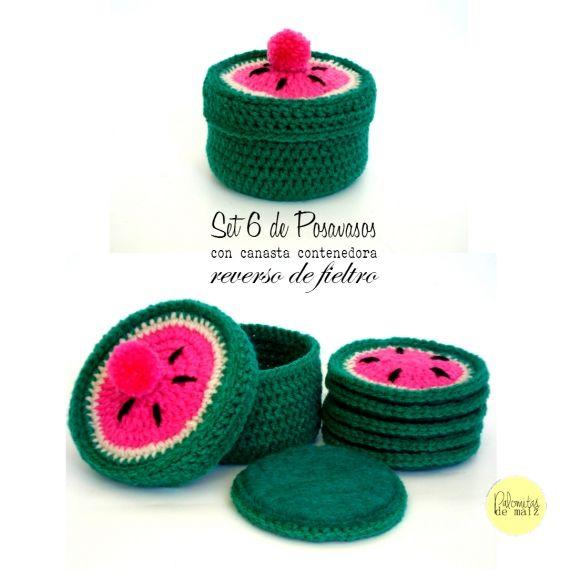Recién traídas del mercado y listas para la venta les presento a la nueva línea de Posavasos de Palomitas: Frutales. Super coloridos y en sus tres v...