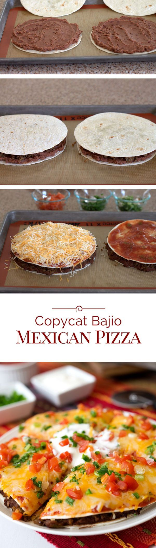 Mexican Pizza - With a layer of refried beans and spicy ground beef sandwiched between two flour tortillas, topped with salsa, shredded cheese, jalapeños, green onions, and tomatoes. Then baked until it's hot, melty and gooey delicious.