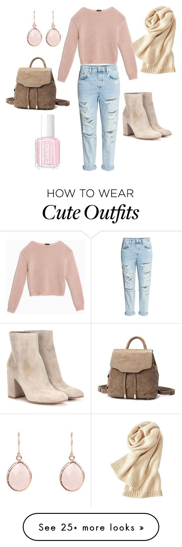"""""""cute pink outfit"""" by claudia-cealicu on Polyvore featuring Max&Co., Uniqlo, Gianvito Rossi and Essie"""