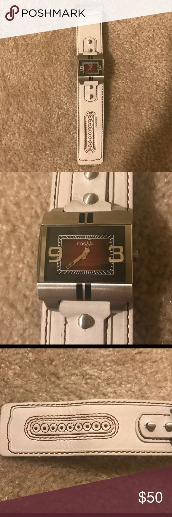 EUC Fossil Men's Leather Watch! EUC Fossil Leather Watch! Men's watch has square face and light cream leather band with red/burgundy stitching. No stains or spots on band. Watch needs new battery. Comes from a smoke free home. Make me an offer! Fossil Accessories Watches