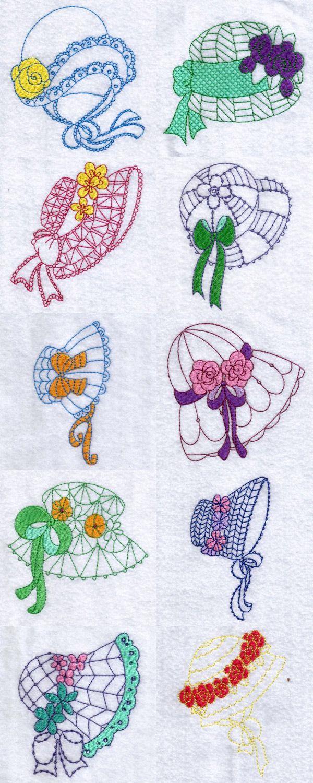 Sunbonnet Hats Embroidery Machine Design Details