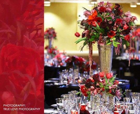 Rich Red Orange And Pink Floral Centerpiece In Tall Vase Visual Impact Design Contemporary Wedding Flowers True Love Photography