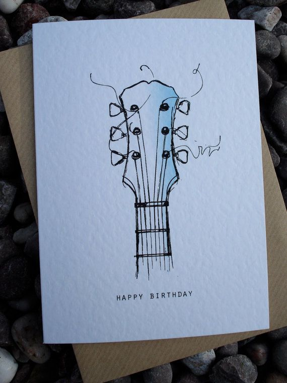 GUITAR Birthday Card by IsleofGB on Etsy
