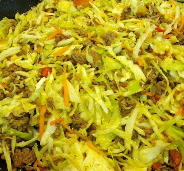 Crack Slaw - Yes it's that addicting!!  1 lb ground beef  1 lb shredded cabbage  2 Tbsp sesame oil  2 Tbsp soy sauce  1 tbsp garlic powder ...