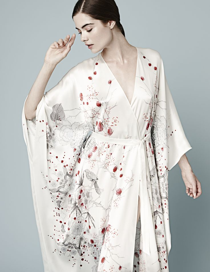 Meng AW14 luxury loungewear - Cherry Blossom print - silk satin v neck wrap - white