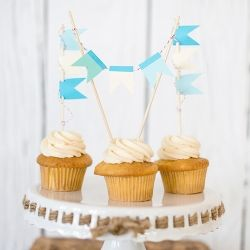 Nautical Cupcake DIY with pennant flags! Easy, simple, and too cute!