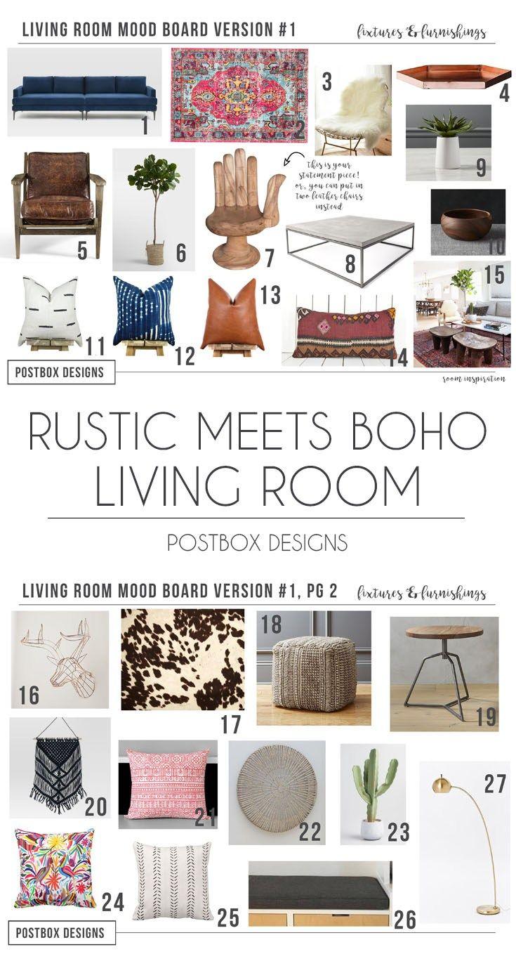 Postbox Designs Interior E Design: Rustic Meets Modern Boho Living Room  Design, Online