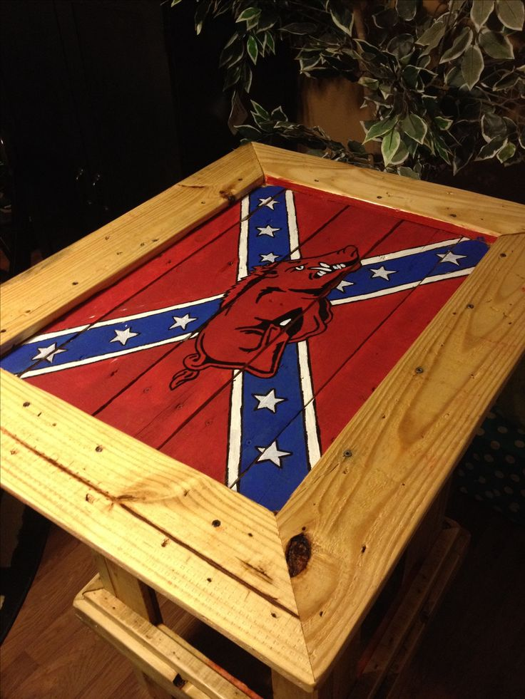 Pallet bar top painted. Arkansas Razorbacks and rebel flag confederate flag