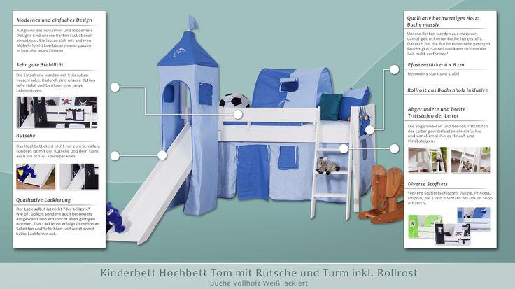 Kinderbett Hochbett Tom mit Rutsche und Turm inkl. Rollrost - Material: Buche massiv, Farbe: weiß lackiert
