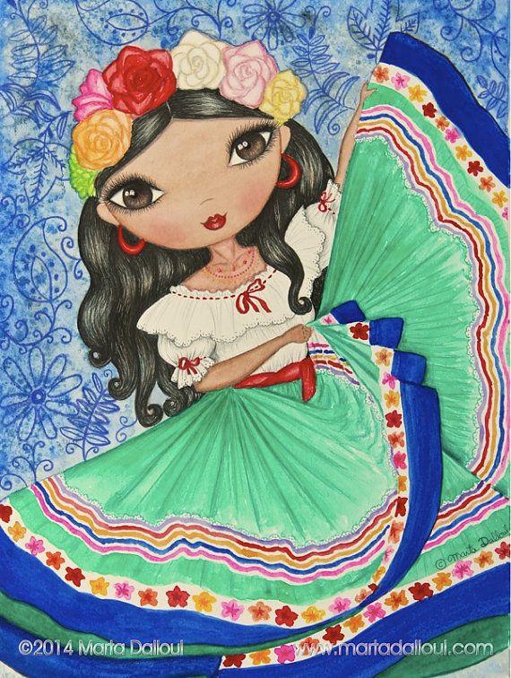 Mexican Girl Art Print. Girls room latin art decor. Spanish