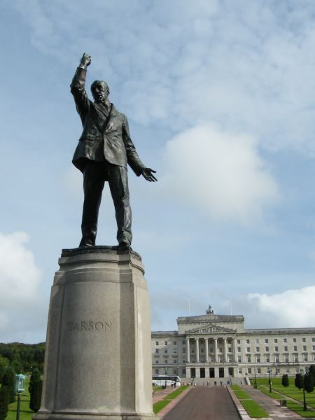 Statue of Edward Carson in the grounds of Stormont Castle, Belfast, Northern Ireland. Politician and lawyer Edward Carson, who in 1921 stated 'Let them see that the Catholic minority have nothing to fear from a Protestant majority' It took a long time for his words to come true in Northern Ireland.