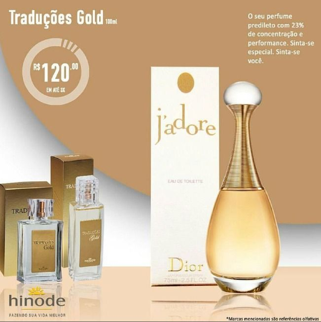 """PERFUMES TRADUÇOES GOLD HINODE Parceria com a empresa Suíça FIRMENICH e a francesa ROBERTET ambas que fabricam as fragrâncias para as marcas  Hinode traduções são feitos com a maior concentração de essência da indústria (23%) o que os classifica como """"Parfum"""" no nível dos melhores perfumes do mundo. Todos os frascos contém 100ml de perfume. Produto com Registro ANVISA nº 343/05 A qualidade e a mesma essência dos melhores perfumes internacionais com preços nacionais."""