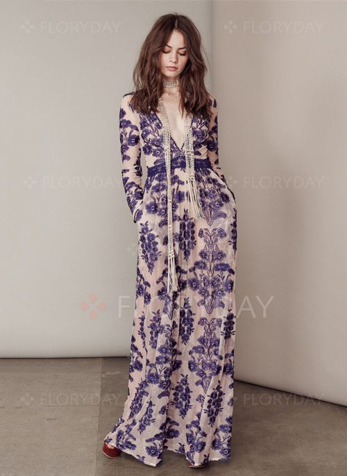 Cotton Others Long Sleeve Maxi Casual Dresses (1013071) @ floryday.com