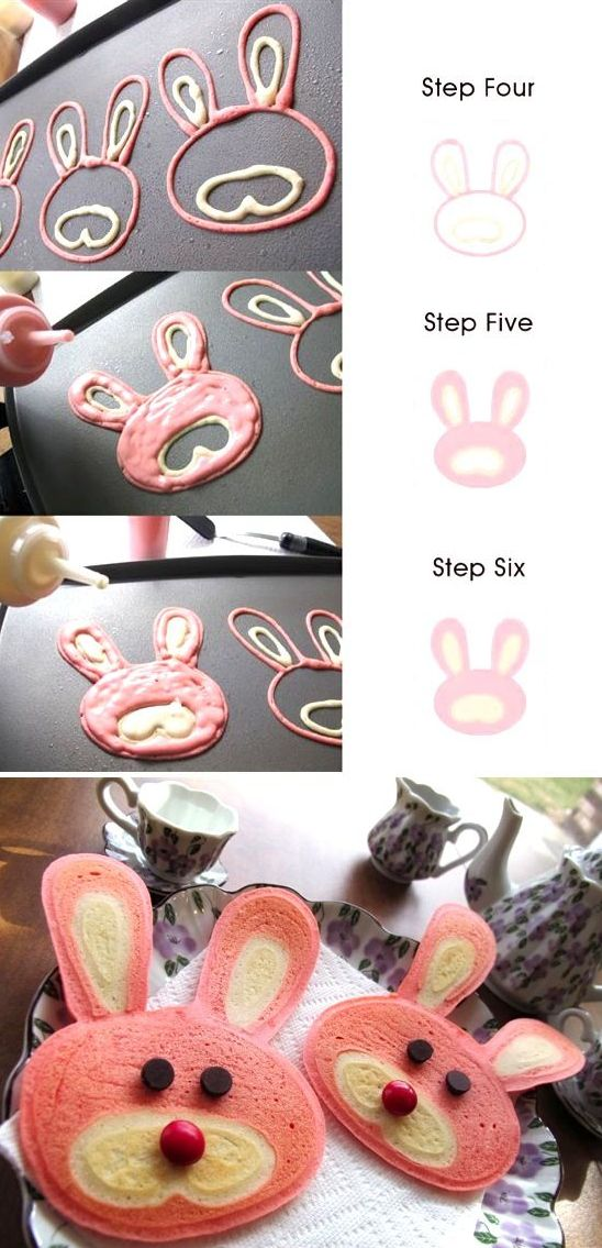 Bunny Pancakes - So cute, and this makes it look easy!