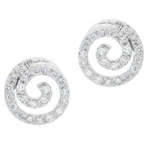 Spiral Studs - 18ct White Gold/Diamonds #diamonds #diamond #jewellery #lovely #gift #catherinejones #cambridge #local #spiral #earrings #studs