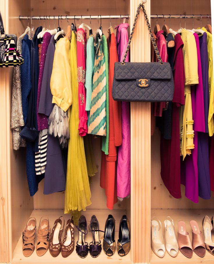 Oprah's color-coordinated closet.