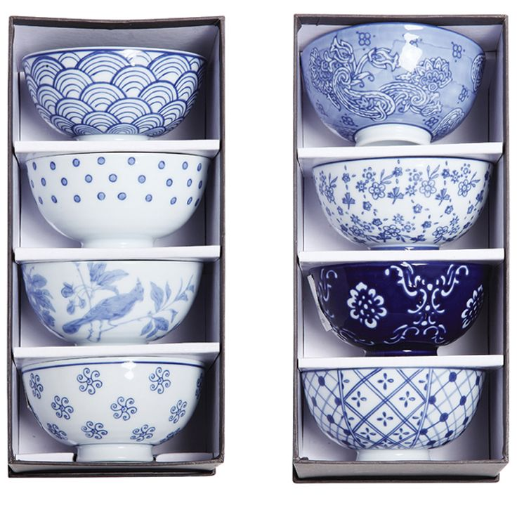 Round Ceramic Hand-Painted Bowl gift Box Set  These elegant ceramic dishes flaunt handpainted motifs in a classic palette of blue and white. Available in a set of eight, they make thoughtful gifts and can be used in a variety of ways around the home