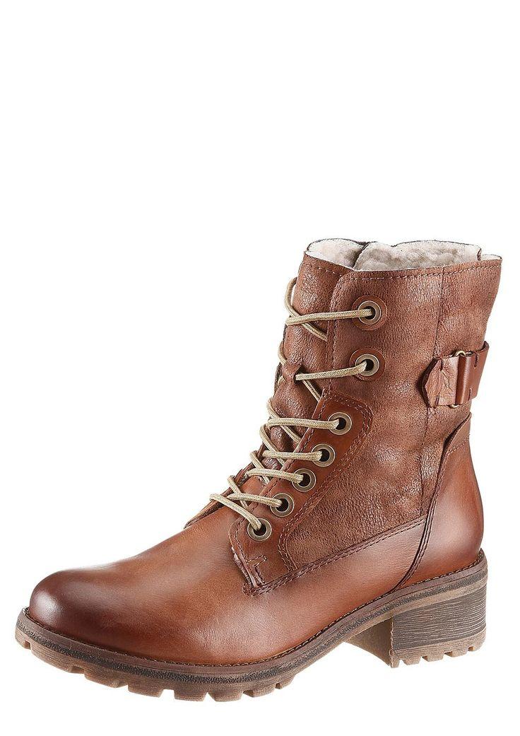 Boots, Tamaris, Materialmix aus Leder und Textil, Futter: Warmfutter, Decksohle aus Warmfutter, Synthetik-Laufsohle, 45 mm Absatz, Schuhweite: Weite F (normal), Reißverschluss....