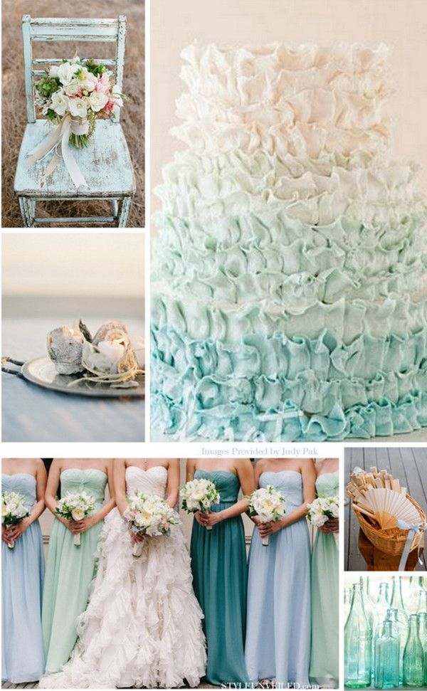 shades of blue wedding color ideas-I just liked this because it made me think of your dress ;) ....Kandice
