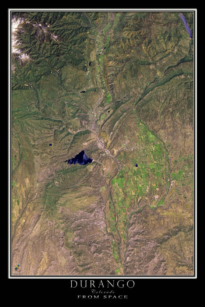 Using cloud-free ASTER satellite imagery from June of 2015, this Terra Prints depicts the beautiful Durango Colorado region including the Animas River Valley and Lake Nighthorse. Terra Prints aerial s