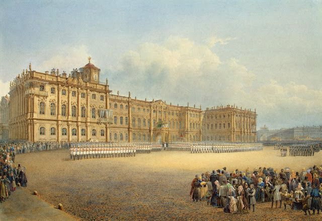 Vasily Semyonovich Sadovnikov, watercolor & history drawings - View of the Winter Palace from the Admiralty. Guard Mounting