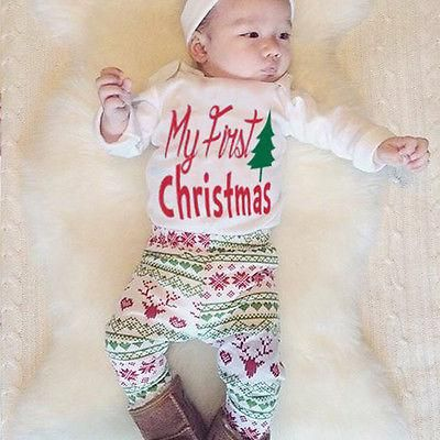 0626d8b9a 4PCS Newborn Baby Boy Girls Romper Tops+Pants+Hat +headband Outfit Clothes  Set Xmas Coming Home Outfits. Yesterday's price: US $8.09 (7.04 EUR).