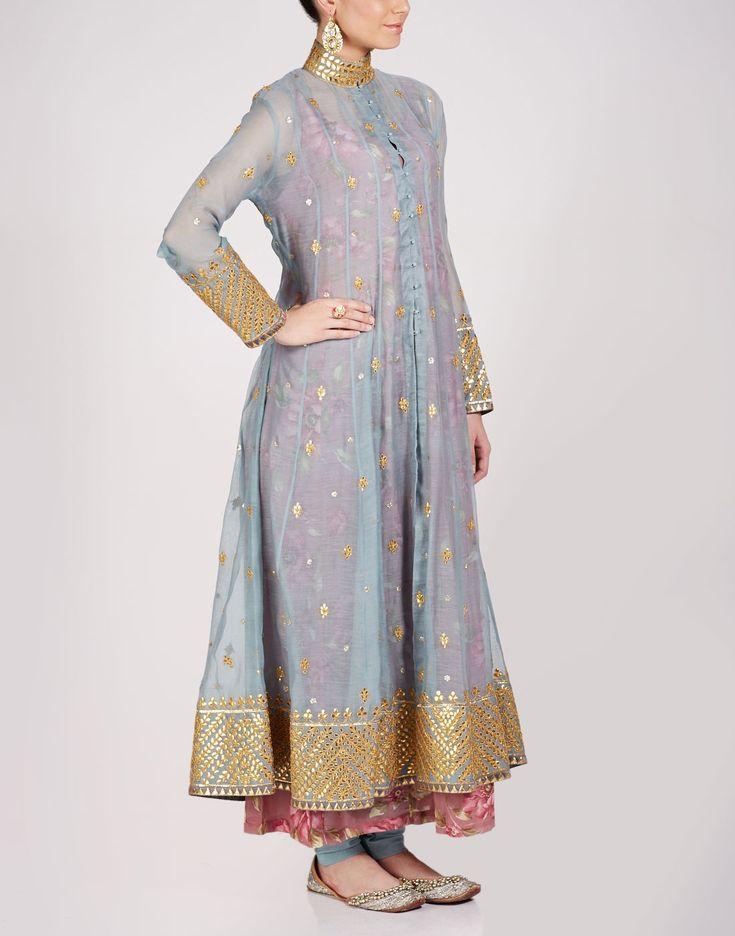 NIDHI THOLIA grey chanderi silk anarkali jacket w gold gota work and floral slip peeking out underneath